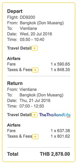 nok air laos ticket price
