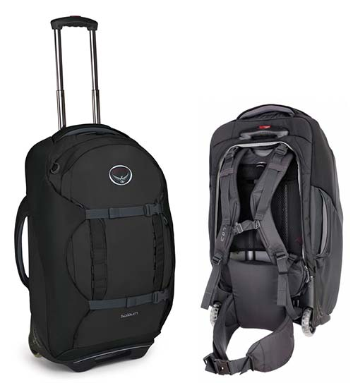 Travel Osprey backpack with top and side handles