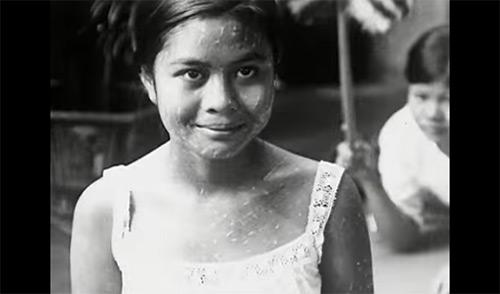 thai lady black and white